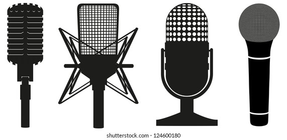 icon set of microphones black silhouette vector illustration isolated on white background