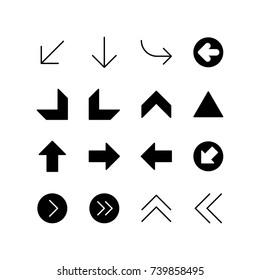 Icon set of miscellaneous arrows