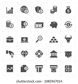 Icon set - money and finance filled icon style vector illustration on white background