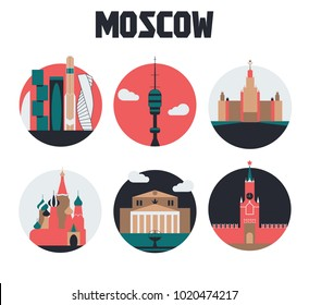 Icon set, Moscow, Russia. Landmarks, sightseeing. Vector illustration design. Info graphics, application, web. Buildings, architecture. European travel destination, country and city symbols, tourism.