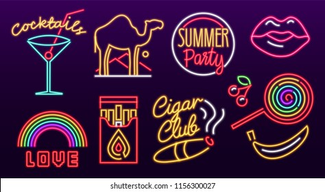 Icon Set of neon sign. Glowing light banner. Night bright signboard. Summer logo, emblem. Club Bar concept on dark background. Editable vector. Cigarette Lollipop Cocktail Rainbow Label  Camel