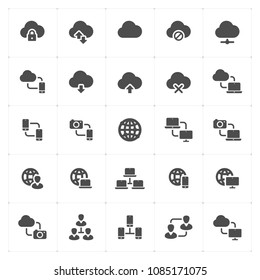 Icon set - network and connectivity filled icon style vector illustration on white background