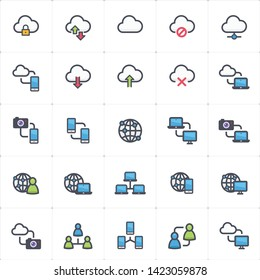 Icon set - network and connectivity full color outline stroke vector illustration