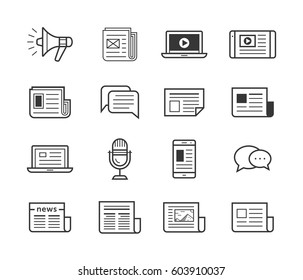 Icon set for news agency and online publish media websites. Newspaper and modern devices and technology. Vector illustration.