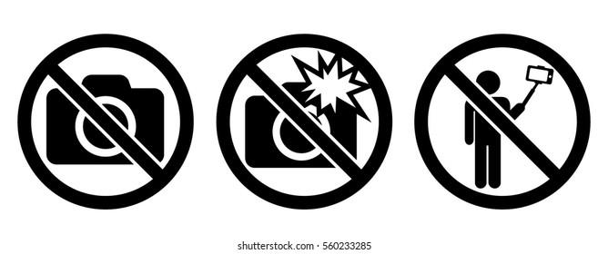 Icon set: No Photo, No Flash, No Selfie
