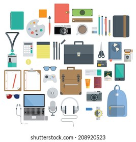Icon Set of Office Equipment, Travel Gadget and Hobby in Flat Design, Vector