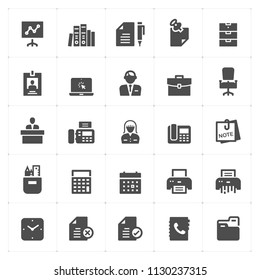 Icon set - office and stationary filled icon style vector illustration on white background