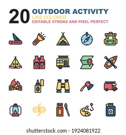 Icon Set of Outdoor Activity. Line Colored style icon vector. Contains such of fishing, tent, camping, matchbox, caravan, wigwam, binoculars, axe, compass, and more. Editable Stroke and Pixel Perfect