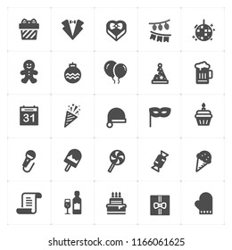Icon set - Party filled icon style vector illustration on white background