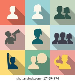 Icon set of people in communication concept, in flat design with vintage color style. Each layers are separated, easty to edit or change color.
