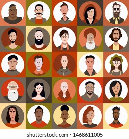 Icon set of people of different races and different age in flat style with faces. Vector woman, male character