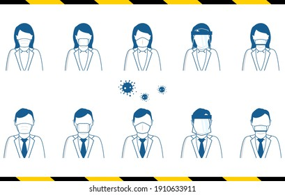 icon set of people wearing various type of masks Infection prevention