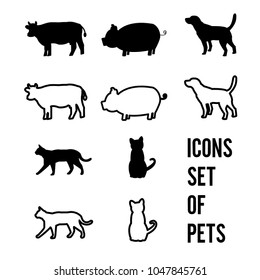 Icon set of pets in black and white colors on white backgrounde.simple line and flat design