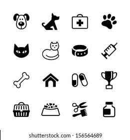 Icon set -  pets, vet clinic, veterinary medicine