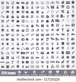 Icon set. Pictogram about internet, computer, school, travel, business, shopping, ecology and medicine.