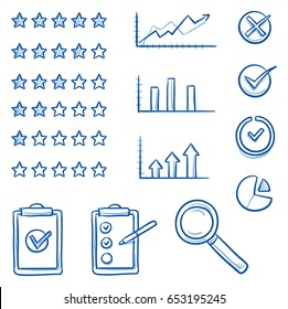 Icon set with rating stars different, growth charts, check lists and a magnifying glass in different variations. Hand drawn line art cartoon vector illustration.