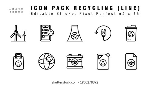 Icon Set of Recyling Vector Line Icons. Contains such Icons as Trash, Shopping bag , Paper etc. Editable Stroke. 64x64 Pixel Perfect