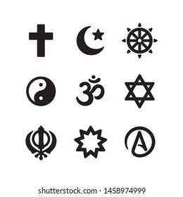 Icon set of religious symbols. Christianity, Islam, Buddhism, other main world religions and Atheism sign, simple and modern minimal style. Vector pictogram collection. - Shutterstock ID 1458974999