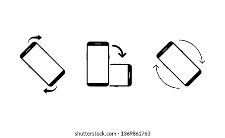 Icon Set of Rotate Smartphone. Icon Set of Rotate Smartphone. Rotate phone, change screen orientation. Vector illustration for web site or mobile app