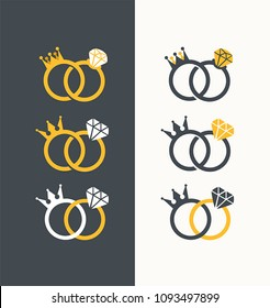 Icon set of Royal Wedding Rings. Wedding rings with a crown and diamond.
