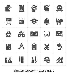Icon set - school and education filled icon style vector illustration on white background