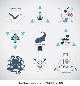 Icon set: sea, whale, mustache, stag
