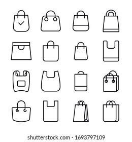 Icon set of shopping bag. Editable vector pictograms isolated on a white background. Trendy outline symbols for mobile apps and website design. Premium pack of icons in trendy line style.