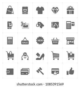 Icon set - shopping and commerce filled icon style vector illustration on white background