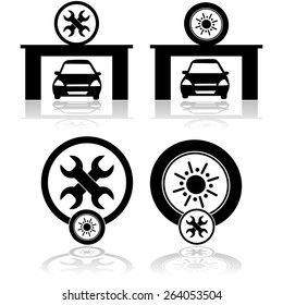 Icon set showing a car inside a garage as well as symbols for a tire and wrench