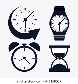icon set of silhouette Clocks. Time design. Vector graphic