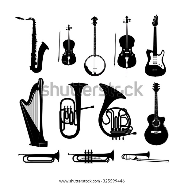 Icon Set with Silhouettes of Musical Instruments in black and white isolated, Vector Illustrations for Music Web Sites and Stores