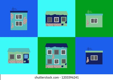 Icon set of six small poor ruined houses based on green, blue and mint-blue background