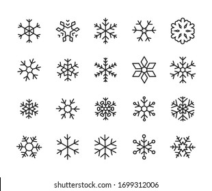 Icon set of snowflake. Editable vector pictograms isolated on a white background. Trendy outline symbols for mobile apps and website design. Premium pack of icons in trendy line style.