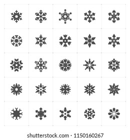 Icon set - snowflake filled icon style vector illustration on white background