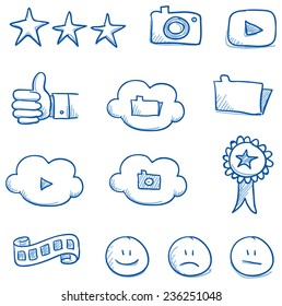 Icon set social media & award with cloud, smiley, stars, picture, video, files, hand drawn vector doodle