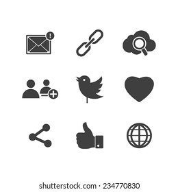 Icon set social network with links Twitter bird cloud mail as Hand chain connects people chat a global network of like heart and contacts in vector illustration