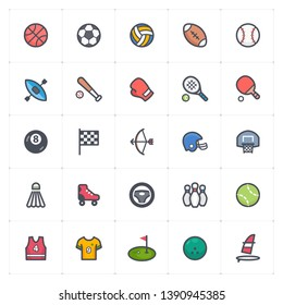 Icon set - Sport and activity full color outline stroke vector illustration on white background