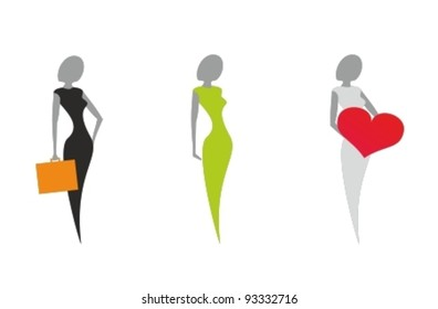 Icon set of stylized women's silhouettes in a symbol form. Vector illustration isolated on white background