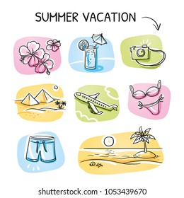 Icon set summer beach holidays, vacation with surfboard, palm tree, fish, swimming toy, snorkel, flippers and message in a bottle. Hand drawn cartoon sketch vector illustration,  marker coloring.