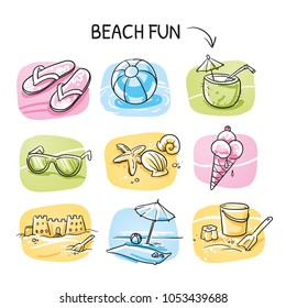 Icon set summer beach holidays, travel, vacation with sand castle, shoes, ice cream, shells, ball, drink, towel, sunglasses, parasol. Hand drawn cartoon sketch vector illustration,  marker coloring.