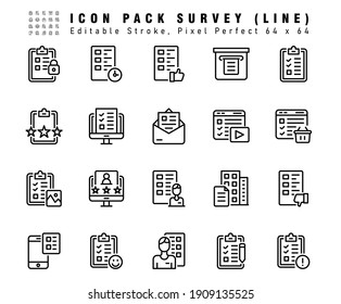 Icon Set of Survey Vector Line Icons. Contains such Icons as History, Text, Printer etc. Editable Stroke. 64x64 Pixel Perfect