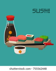 Icon set of sushi menu. On the board are sushi rolls with fish and caviar, chopsticks and soy sauce.