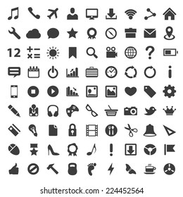 Icon set technology, Flat icon black collection, Vector illustration