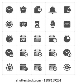 Icon set - time and schedule filled icon style vector illustration on white background