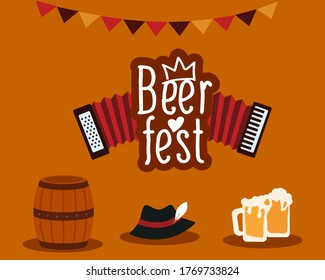 Icon set. Traditional Bavarian hat, accordion and a barrel of beer on an isolated background. Oktoberfest beer festival. Beer Fest logo with accordion.