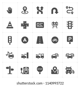 Icon set - traffic and accident filled icon style vector illustration on white background