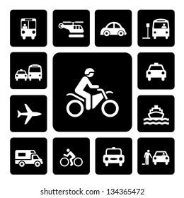 Icon Set Traffic on  Isolated white background