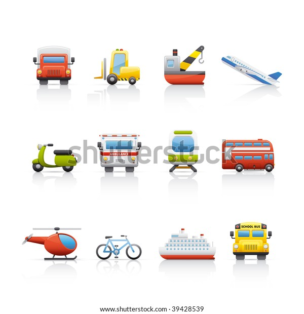 Icon Set Transport Set Icons On Stock Vector (Royalty Free