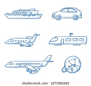 Icon set travel holidays, transportation with plane, jet, car, train, cruise ship and globe+. Hand drawn doodle vector illustration.