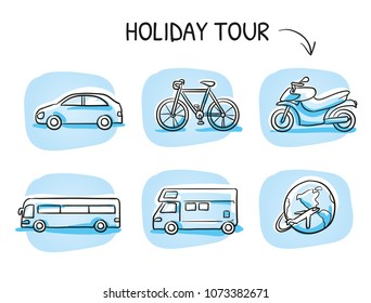 Icon set travel holidays, vacation with car, motor cycle, bike, bus, trailer, caravan and globe. Hand drawn cartoon sketch vector illustration, marker style coloring on blue tiles.